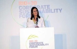 Maria das Graças Foster, delivered her address at the opening session of the Rio+20 Sustainability Forum | Photo: Courtesy Of Agencia Petrobras De Noticias