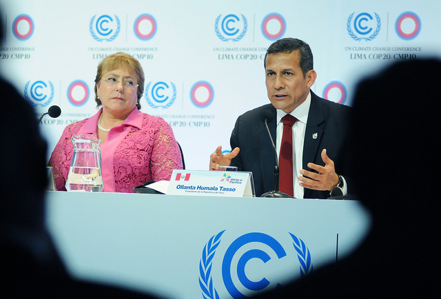 Chilean President Michelle Bachelet and her Peruvian counterpart Ollanta Humala, two of the four leaders of the Pacific Alliance nations. Photo: Foreign Ministry of Peru