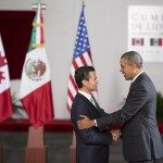 The President of Mexico, Enrique Peña Nieto, greets U.S. President Barack Obama at the North American Leaders' Summit. Credit: Presidencia de la República Mexicana /Flickr