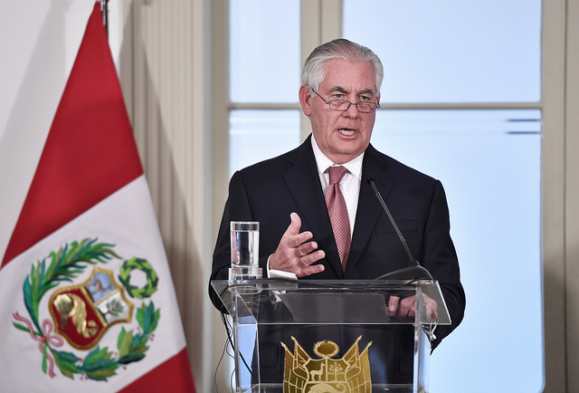 Photo: Mr. Tillerson during his visit to Peru. Ministerio de Relaciones Exteriores de Perú/Flickr
